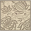 Indoor/ Outdoor Andros Natural/ Brown Rug (7'10 Square)