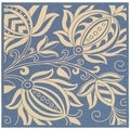 Safavieh Indoor/ Outdoor Andros Blue/ Natural Rug (6'7 Square)