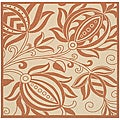 Indoor/ Outdoor Andros Natural/ Terracotta Rug (6'7 Square)