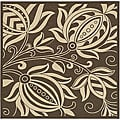 Indoor/ Outdoor Andros Chocolate/ Natural Rug (7'10 Square)