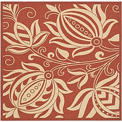 Indoor/ Outdoor Andros Red/ Natural Rug (6'7 Square)