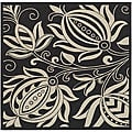 Indoor/ Outdoor Andros Black/ Sand Rug (7'10 Square)