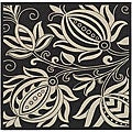 Safavieh Indoor/ Outdoor Andros Black/ Sand Rug (7'10 Square)