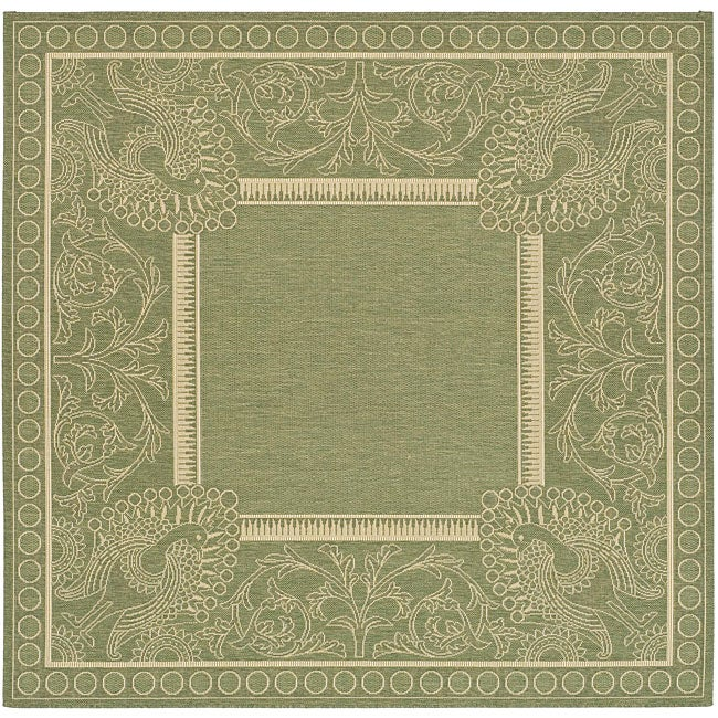 Safavieh Indoor/ Outdoor Abaco Olive/ Natural Rug (6'7 Square)