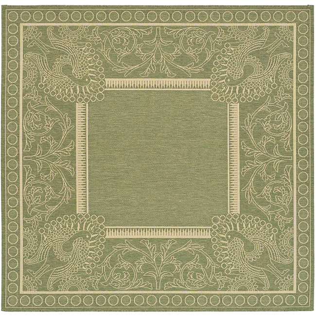 Safavieh Indoor/ Outdoor Abaco Olive/ Natural Rug (7'10 Square)