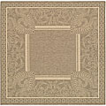 Indoor/ Outdoor Abaco Brown/ Natural Rug (6'7 Square)