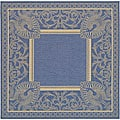 Indoor/ Outdoor Abaco Blue/ Natural Rug (6'7 Square)