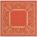 Indoor/ Outdoor Abaco Red/ Natural Rug (6'7 Square)