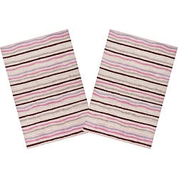 Set of 2 Ziggy Pink Cotton Rugs (2'6 x 4'2)