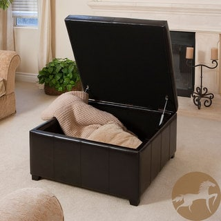 Christopher Knight Home Forrester Espresso Bonded Leather Square Storage Ottoman