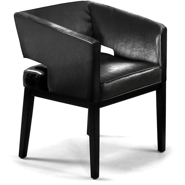 bicast apollo black leather club chair