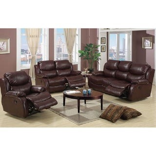 Hampton 3-piece Brown Bonded Leather Sofa, Loveseat and Chair Set