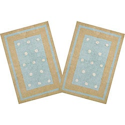 Set of 2 Handmade Blue Border Dots Cotton Rugs (2'6 x 4'2)