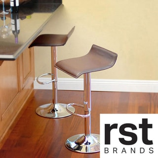 Klein Brown Leather Bar Stools (Set of 2)