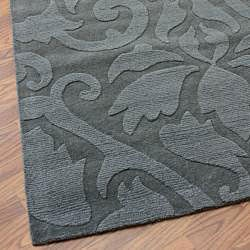 nuLOOM Handmade Neutrals and Textures Damask Grey Wool Rug (8' x 11')