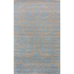 nuLOOM Handmade Neutrals and Textures Damask Blue Wool Rug (5' x 8')