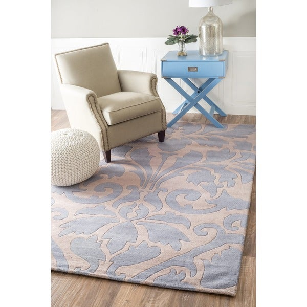 nuLOOM Handmade Neutrals and Textures Damask Blue Wool Rug (8' x 10')