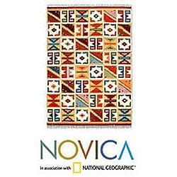Peruvian Hand-woven 'Pastel Calendar' Wool Rug (5'9 x 8'2)