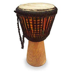 Sese Wood 'Kente Pillar' African Djembe Drum (Ghana)