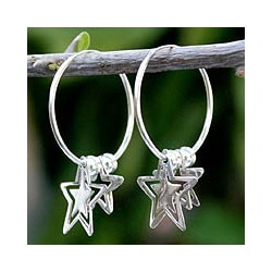Sterling Silver 'Stargazers' Hoop Earrings (Thailand)