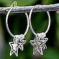 Sterling Silver 'Stargazers' Hoop Earrings (Thailand)