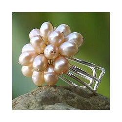 Silverplated Copper 'Peach Mum' Pearl Cocktail Ring (Thailand)