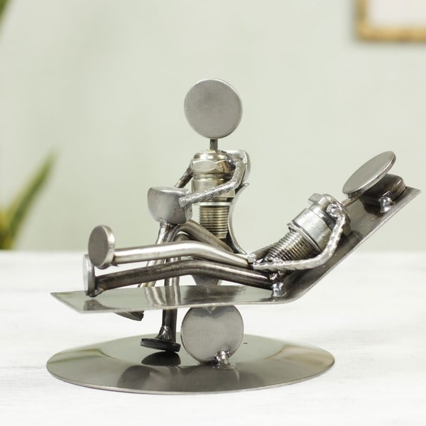 Iron 'Rustic Psychotherapist' Statuette , Handmade in Mexico