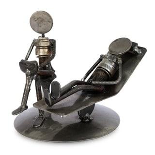 Iron 'Rustic Psychotherapist' Statuette , Handmade in Mexico