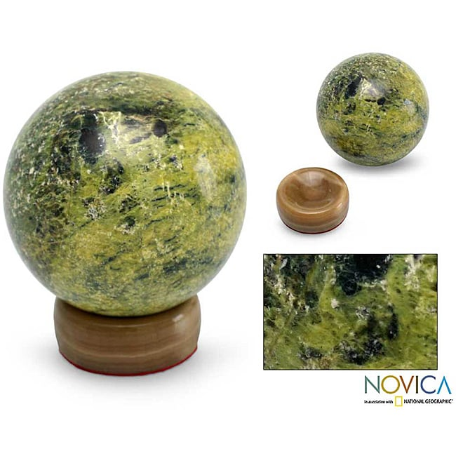 Serpentine 'Living Planet' Sphere Sculpture (Peru)