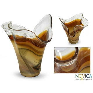 Murano Hand-blown 'Amber Fan' Glass Vase (Brazil)