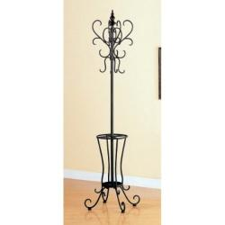 Black Metal Coat Rack Hat with Umbrella Stand