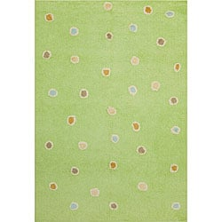 Handmade Green Dots Cotton Rug (4' x 6')