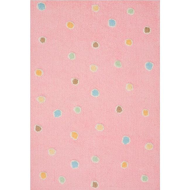 Handmade Pink Dots Cotton Rug (4' X 6')