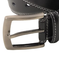 Boston Traveler Men's Topstitched Leather Belt with Brushed Nickel Hardware
