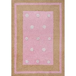 Handmade Pink Border Cotton Rug (4' x 6')