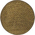 Hand-tufted Circle Leaves Gold Wool Rug (8' Octagon)