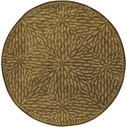 Hand-tufted Circle Leaves Green Wool Rug (8' Octagon)