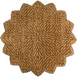 Hand-tufted Circle Leaves Gold Wool Rug (8' Star)