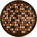 Hand-tufted Brown Multi Colored Circles Contemporary Spirit Wool Abstract Rug (7'9 Round)