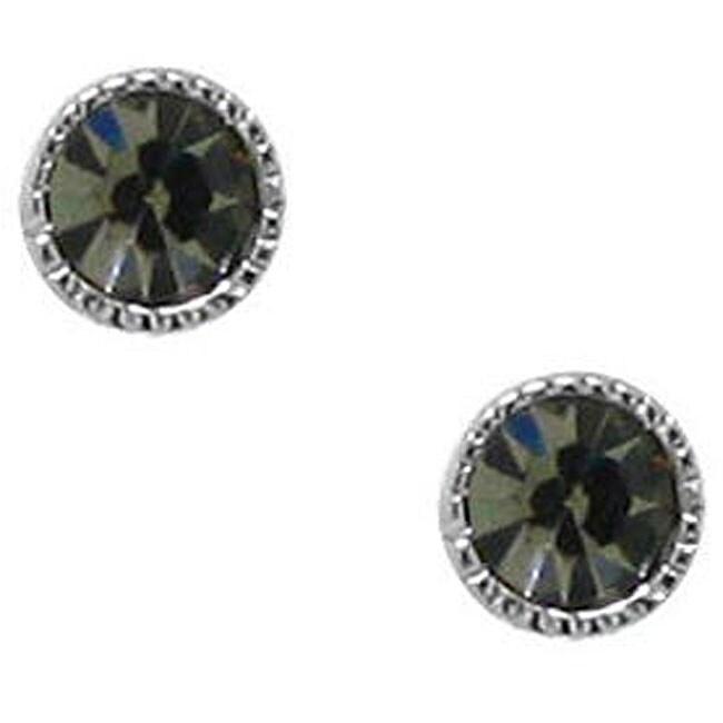 Sterling Silver Black Crystal Stud Earrings