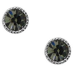 Sterling Silver Black Crystal Stud Earrings