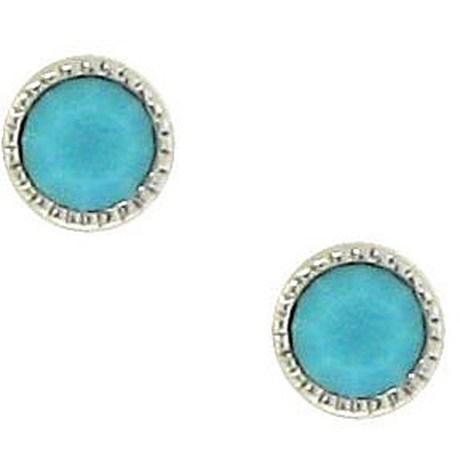 Sterling Silver Turquoise Austrian Crystal Stud Earrings
