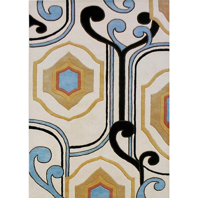 Alliyah Handmade Cream New Zealand Blend Wool Rug (8x10)