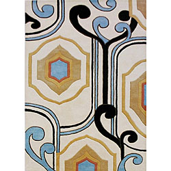 Hand-tufted Contempo Diamonds Cream Wool Rug (8x10)