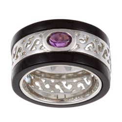 Kabella Sterling Silver Blue Topaz, Amethyst, Citrine and Onyx Ring