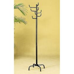 Black Finish Metal 8-hook Coat Rack
