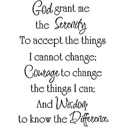 'God Grant Me the Serenity' Black Vinyl Wall Art