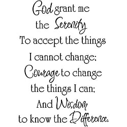 'God Grant Me the Serenity' Black Vinyl Wall Art Quote