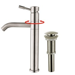 Kraus 'Aldo' Stainless Steel Vessel Filler Faucet with Pop-up Drain