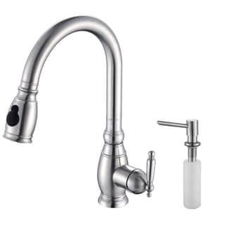 Kraus Solid Stainless Steel Pullout Kitchen Faucet and Soap Dispenser
